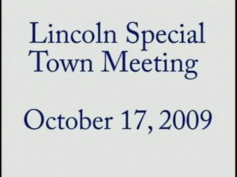 Special Town Meeting 2009 Oct 17